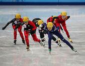 Ladies' 3000 m Heats Short Track Relay — Stok fotoğraf
