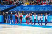 Ladies' 3000 m Heats Short Track Relay medal ceremony — Stok fotoğraf