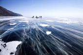 Snowdrift on Baikal surface — Stock Photo