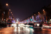 Vista de noche Avenue des champs elysees — Foto de Stock