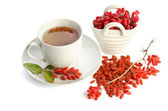 Goji fresh antioxidant tea  isolated on white background — Stock Photo