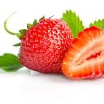 孤立的白色背景上的红色甜草莓 — 图库照片 #60971487