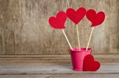 Handmade skewers with cloth hearts for celebration of St. Valent — Stock Photo
