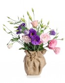 Beautiful bouquet of  eustome flowers in flowerpot   — Stock Photo