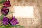 The old card and fresh tulips from corner is lying on wooden bac — Stock Photo