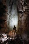 Caver in  Dachstein Mammut Cave. — Stock Photo