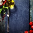 Cherry tomatoes, basil leaves, mozzarella cheese and olive oil f — Stock Photo #52943431