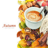 Cozy cup of coffee and autumn leaves — Stock Photo