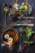 Black, green and herbal tea — Stok fotoğraf