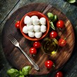 Cherry tomatoes, basil leaves, mozzarella cheese and olive oil f — Stock Photo #58690389