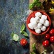 Cherry tomatoes, basil leaves, mozzarella cheese and olive oil f — Stock Photo #59198159