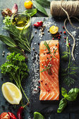 Delicious  portion of  fresh salmon fillet  with aromatic herbs, — Stock Photo