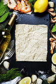 Food background with Seafood and Wine — Stock Photo