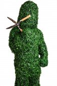 Live bush pose holding brush cutter, isolated on a white background. Studio photo. — Stockfoto