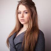 Young sensual & beauty model girl pose in studio. — Stock Photo