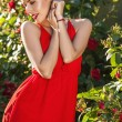 Outdoors portrait of beautiful young brunette girl in luxury red dress posing in summer garden. — Stock Photo #77655860