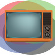 Old orange TV — Stock Vector #59495419