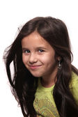 Seven year old brunette girl — Stock Photo