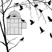 Bird cage silhouettes — Vector de stock