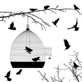 Birds silhouettes and bird cage — Vecteur