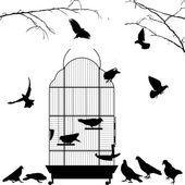 Open bird cage and birds — Vector de stock