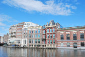 Beautiful quay in  Amsterdam — Stock Photo