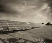 Solar panels on a countryside — Stock Photo