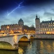 Beautiful colors of Napoleon Bridge with storm with Seine river — Stock Photo #51867463
