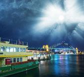 Sydney Harbour at night — Stock Photo