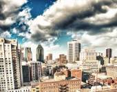 Dramatic sky above Montreal Buildings, Canada - Aerial view — Stock Photo