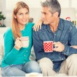 Happy Christmas couple drinking tea on the home sofa with tree o — Stock Photo #52365879