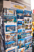 Postcards on a city street shop — Stock Photo