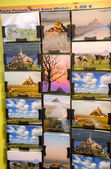 Postcards on a city shop — Stock Photo