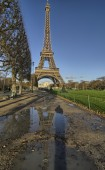 Eiffel Tower and Champ de Mars in Paris — Stock Photo