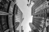 Upward fisheye view of Manhattan Tall Skyscrapers — Stock Photo