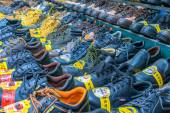 Market sale of shoes — Stock Photo