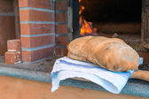 Bread in front of wood-fired oven — Stock Photo