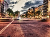 City streets at night in spring — Stock Photo