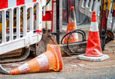 Road works in city — Stock Photo