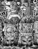 Mayan wooden masks for sale, Mexico — Stock Photo