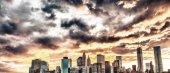 Manhattan skyline with beautiful sunset sky — Photo