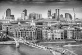 Aerial view of Millennium Bridge, London - UK — Stock Photo