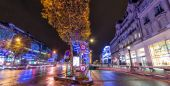 Lights of Champs Elysees at night — Stock Photo