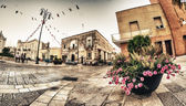 Small town square — Stock Photo
