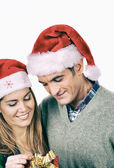 Couple with Christmas presents — Stock Photo
