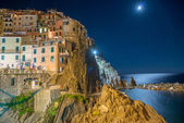 Manarola seascape at night. Five Lands, Italy — Stock Photo