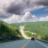 Long countryside road of Quebec, Canada — Stockfoto