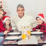 Happy caucasian family celebrating Christmas — Stock Photo #55856889