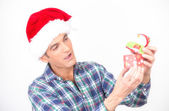 Man with Christmas hat — Stock Photo