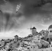 Panoramic view of Oia village — Stock Photo